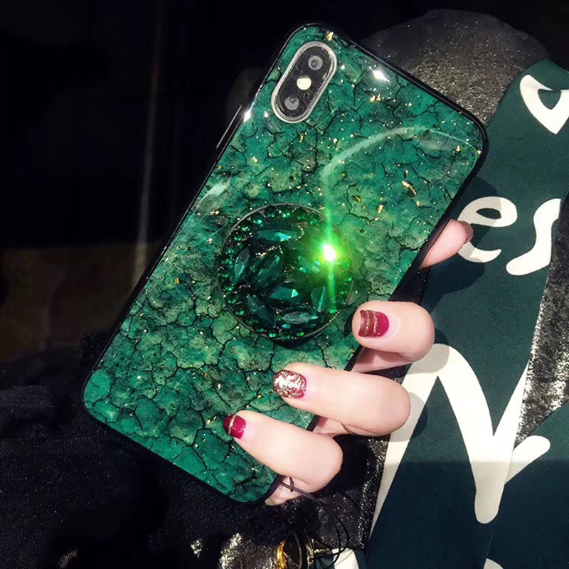 Luxury Diamond Marble Glitter silicon phone case for iphone 7 8 6 6s plus X XR XS MAX holder ring Cover For Samsung S8 S9 Note 9 (2)