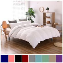 10 Colors White Cotton Bedding Sets Brief Style Solid Color Plain Dyed Bed Linen Full Queen King Size Duvet Cover