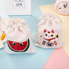 portable drawstring cosmetic bag cute make up makeup cotton pocket women cat watermelon bath washing cosmetics storage pouch