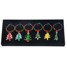 Red Green Crystal Christmas Tree Charm Pendant Christmas New Year Party Glass Wine Charm 6pcs/Set With Box For DIY Jewelry Make(China)