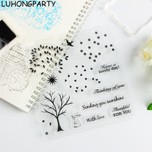 Fall Autumn Tree Bird Transparent Clear Silicone Stamp/Seal DIY scrapbooking/photo album Decorative clear stamp LUHONGPARTY