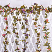 Artificial Silk Rose Vine Hanging Flower Garland Wedding Party Home Decor(China)