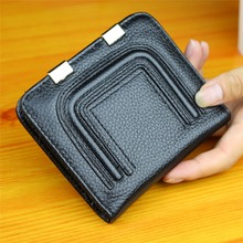 Soft Cow Leather Clips Women Zipper Wallets Genuine Leather Mini Hasp Small Short Money Coin Purse ladies Clutch Card Holder(China)