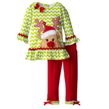 RT-210 New Children's Clothing For Baby Girls Boutique Outfits Cute Christmas Deer Long-Sleeve Ruffle Blouse Tops+Pants kids Set