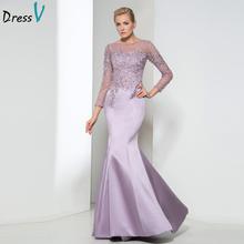 Dressv Lilac Mermaid long lace Evening Dress 2017 with Long Illusion Sleeves floor length evening dress Party Holiday Dresses