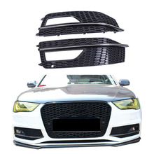 2x For Audi A4 B9 S-Line S4 Sedan 2013 2014 2015 Front Bumper Fog Lights Grille Foglamp Grill Cover Gloss Black + Sliver #P449