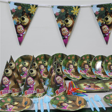 6 people use tablecloth paper plate cup banner cartoon masha bear 64 pcs/lot kids girl happy birthday party decoration supplies
