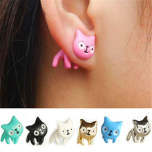 Hot 1 piece Girls Cute Lovely Fashion Piercing Ear Stud 3D Cat Earrings Jewelry Free Shipping(China)