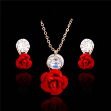 QCOOLJLY Unique Wedding Jewelry Fashion Statement Good Quality Lovely Rose Flower Jewelry Sets Elegant Crystal Jewelry Sets(China)