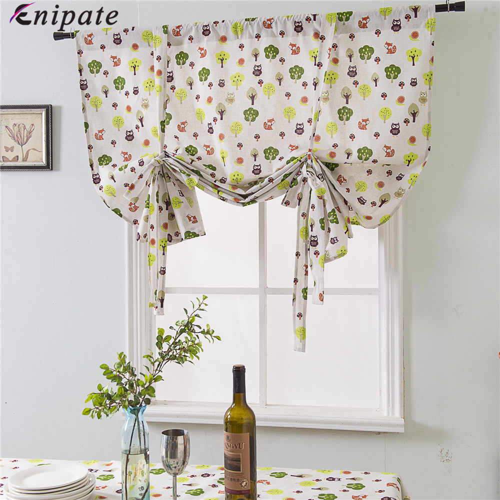 Enipate Nordic Cotton Linen Roman Blinds Short Kitchen Door Curtains Blackout Shade Short Window Treatments Living Room Panel