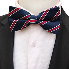 Classic Men Woven Bow Ties Navy Blue with White Red Stripes Bowtie Butterfly(China)