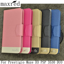 Maxred For Prestigio Muze D3 PSP 3530 DUO Case High Quality Flip Phone PU Leather Book Style Cover Credit Card Slot(China)