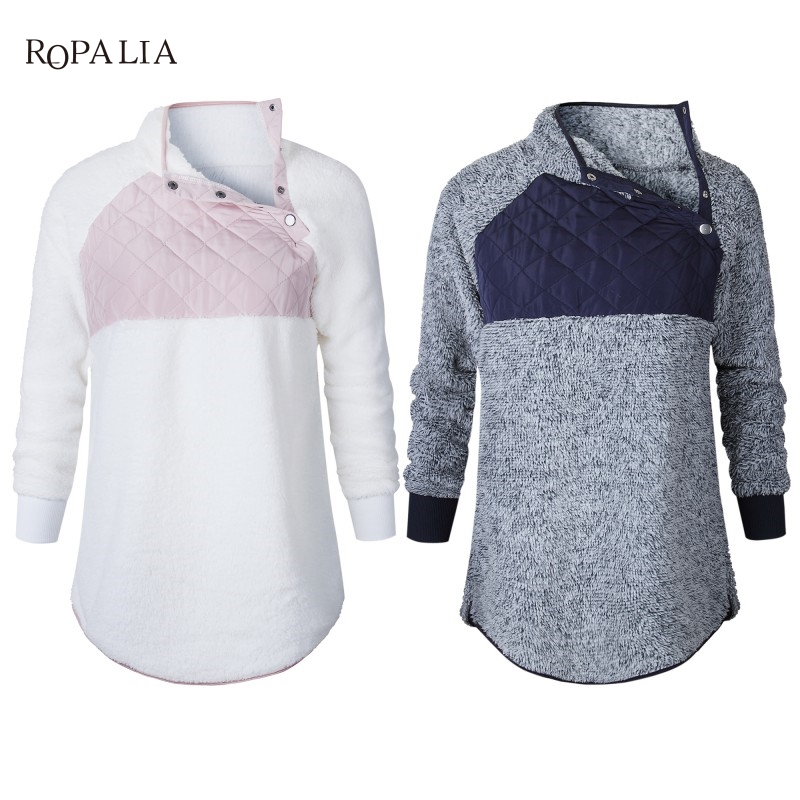 Women Fleece Sweatshirt High Neck Long Sleeve Warm Ladies Pullover Female Casual Loose Tops 12