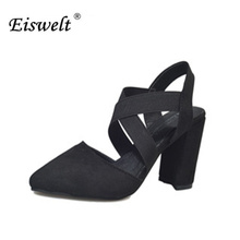 EISWELT 2017 Women Wedges Fashion Brand Ankle Pointed  Straps Sexy Night Club Sandal Root High Heels Women Shoes Summer#LQ41