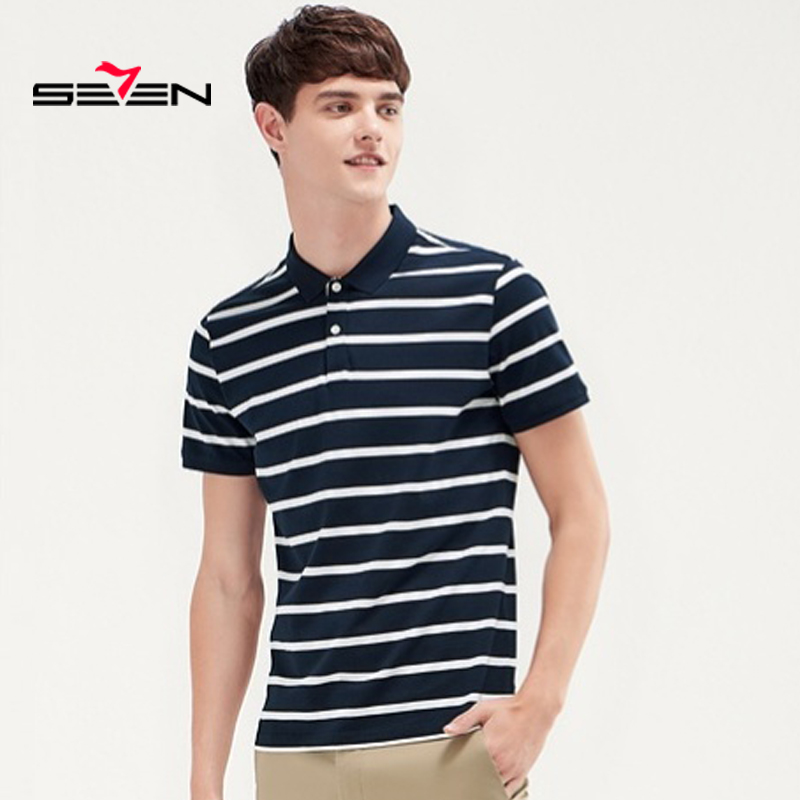 Seven Men's Striped Polo Shirts fashion Style Summer short sleeve polo shirt men 2019 High Quality Tops&Tees 116T58130