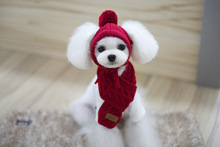 Sold by Set !Kawaii Pets Store Warm Woolen Lovely Dog Hats Adjustable Dog Scarf for Small Large Pets Cats Wholesale Winter(China)