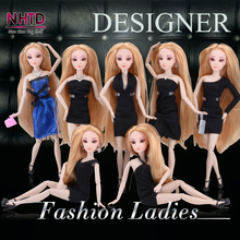 30CM Fashion Ladies Dolls Black Dress and shoes with doll stand 12 Joint Moving Body Toy Best Christmas Gift Girl
