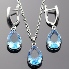 Lan Classic Hot-Selling Jewelry Sets Light Blue Topaz  White Topaz AAA Zircon Necklace Pendant Earring For  Free Shipping
