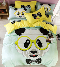 Cartoon panda comforter quilt bedding sets queen size japanese princess cotton duvet cover lovely bed sheet bedspreads