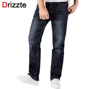 Drizzte mens jeans plus size 30-44 jeans stretch 4 cores Relaxar Calça Jeans Soltos dos homens Em Linha Reta Calças Jeans Casual Calças calças