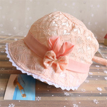 Fashion Lace Baby Girl Sun Hats Summer Girl Caps Bow Bucket Hat Kids Baby Girl Cap Newborn Hats 0-12 Months
