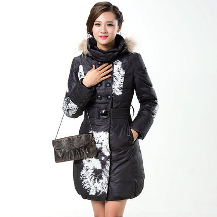 Women Fur Hooded Print Down Parkas 2015 Fashion Winter Coat Jacket Women Slim Long Wadded Outerwear Overcoat H5597Одежда и ак�е��уары<br><br><br>Aliexpress