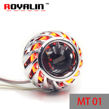 Buy ROYALIN Motorcycle Bi Xenon Lens H1 Projector Head lights CCFL Halo Rings Angel Eyes White Red Blue Yellow H4 H7 Moto for $30.99 in AliExpress store