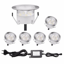 QACA Stainess Steel IP67 LED Underground Lighting 1W Low Voltage Outdoor Deck Lights Inground LED Lamps Kits B109-6(China)