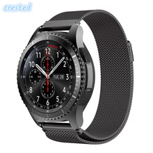 CRESTED Mesh Milanese loop strap for Samsung Gear S3 S2 huawei smart watch link bracelet Wrist Watch Band Strap Magnetic Closure(China)
