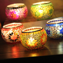 Mini Mosaic Carved Glass Bowl Candle Holder Candlestick Wedding Home Table Decorative Rome Style Collection Gifts 85x55mm