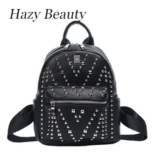 Hazy beauty New punk design women pu leather backpack super chic lady shoulder bag rock stud girls simple black backpacks DH691