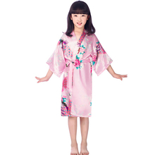 Girls satin kimono robes wedding bridesmaid party girls silk bathrobes peacock nightgown sleepwear Christmas solid girls robres(China)
