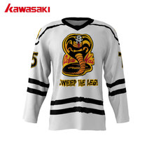 Kawasaki Custom Cobra Kai #75 USA American V Neck League Ice Hockey Jerseys Stitched Training Hockey Jersey 3 Colors Fit Size