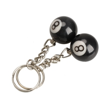 2Pcs Billiard Pool Keychain Snooker Table Ball Shape Key Ring Key Chain Gift Black Lucky NO.8 Car-styling Keyring(China)