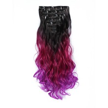 "StrongBeauty 30 Color Lady Synthetic Ombre Curly Long Clip in Hair Extensions Half Full Head 24"" 7pcs/set 140g/Set  Hairpiece"