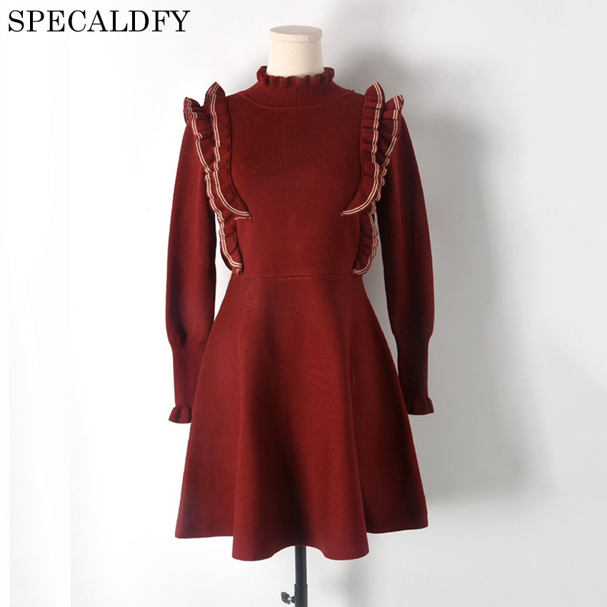 2018 Luxury Designer Knitted Dress Runway Dresses Women High Quality Ruffle Winter Turtleneck Sweater Dresses Party VestidosÎäåæäà è àêñåññóàðû<br><br>
