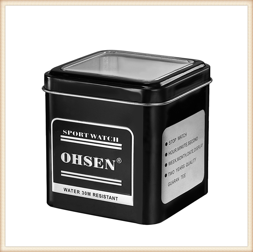 1PCS Fashion 100% Original OHSEN Watch Boxes Good Quality Protect Watch Metal Gift Box Freeshipping with OHSEN LOGO Dropshipping (20)