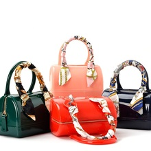 The most popular vivid candy color bag Jelly bag summer beach bag  Fashion Pack pillow bag shoulder Crossbody handbags scarves