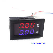 "DC 0-100V 10A Digital Voltmeter Ammeter Dual Display 10A Voltage Detector Current Meter Panel Amp Volt Gauge 0.28"" Red Blue LED"