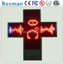 Leeman alibaba express new technology product p20 outdoor green 48*48 double side wireless led cross sign pharmacy