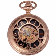 Classic Rose Gold Steampunk Movement Mechanical Pocket Watch Roman Number Hunter Hollow Chain Hand Winding Nurse Clock / WPK223