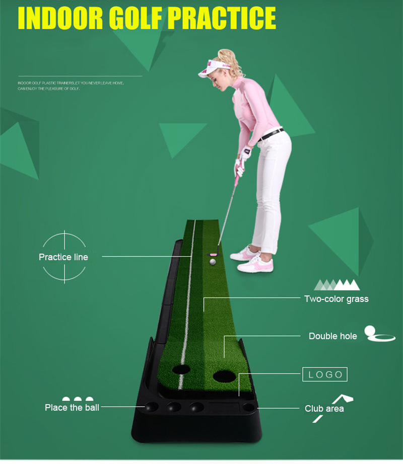 PGM indoor Golf Putter Practice Set Putting Green Trainer Green Mat Automatic Return Fairways Equipment Golf Training Aids (10)