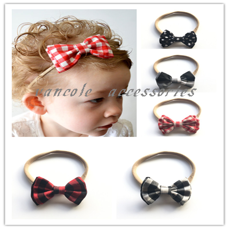 5pc/lot Double Plaid fabric Bow With nylon hair band For Girls Bows Hair accessoires Children Bow Tie Heaband Bebes Bow hair(China (Mainland))