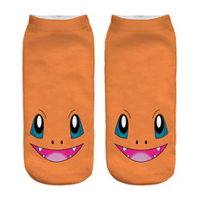 Unisex low cut tobillo calcetines orange color mujeres pokemon charmander meias impreso 3d calcetines calcetín de las mujeres