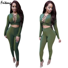 Fashion 2 Piece Set  2017 New Style Sexy Bandage Blouse Crop Tops Pants Set Women Party Night Club Set#17