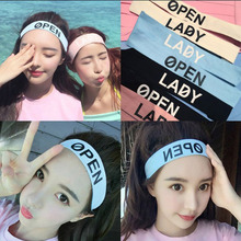 2016 Summer Womens OPEN LADY Letters Design Cotton  Headband Fitness Hair Bands Head band Hair Accessories Patch For Women