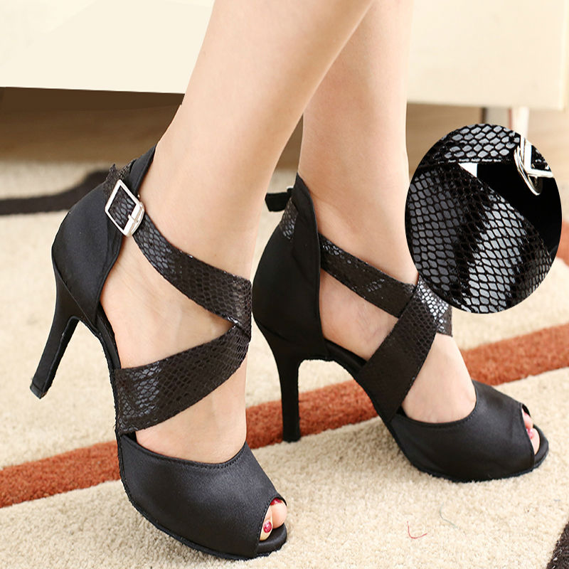 Latin dance shoes woman Ballroom latin dance shoes Low discount Snakeskin laces High-grade satin sandals Soft bottom For girl <br><br>Aliexpress