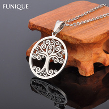 FUNIQUE Stainless Steel Charms Women Men Rhinestones Round Life Tree Pendant For Making Pendatn Necklace Jewelry 3cmx1.5mm,1PC(China)