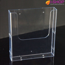 A4 Acrylic Counter Top/Wallmount Brochure Holder Magazine Size Single Pocket Holder Links Side By Side PZG-014(China)