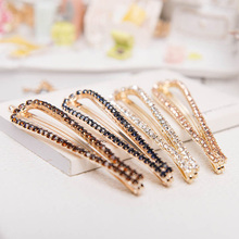 1 pcs Fashion Women Ladies Girls U-Shaped Crystal Rhinestone Hairpin Hair Clip Headdress Headwear Barrettes Gift(China)